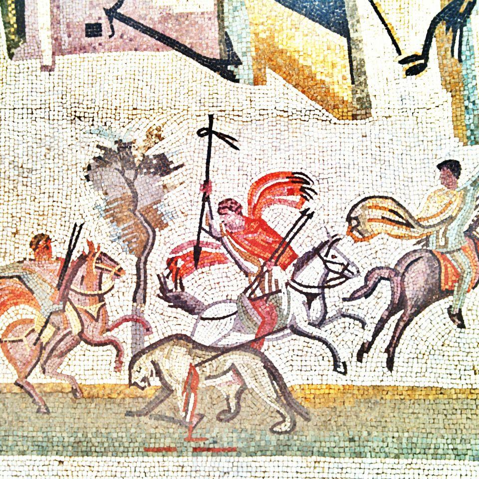 Mosaique des ruines de l'ancienne cité d'Uthina ou Oudna.