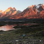 Footing matinal devant los Cuernos del Paine
